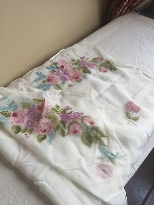 Vintage Floral Shabby Chic Made In Japan Rayon Dresser Scarf Handpainted Roses