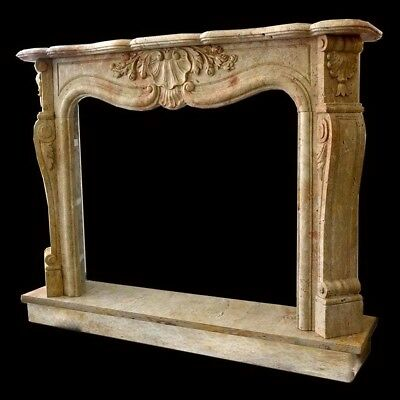 Fireplace Travertine Frame Style Baroque Classic louis XVI Old Marble Fireplace