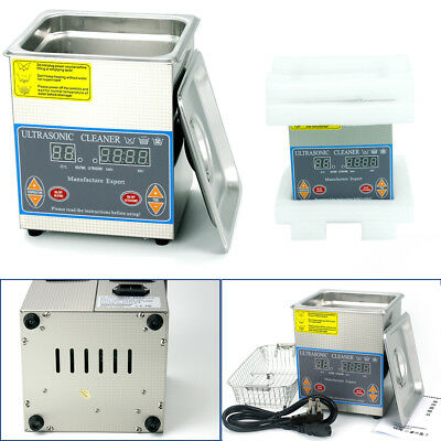 Digital Stainless Steel Industry Heated Ultrasonic Cleaner 2L Cleaning Timer UPS