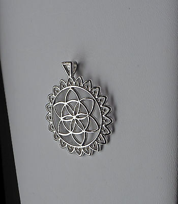 Flower of Life, Pendant Charm, 48x40mm, Silver tone, Make Your Own Necklace