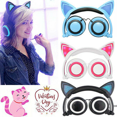Women Girls Foldable Cat Ear LED Music Lights Headphones Gaming Headset Earphone