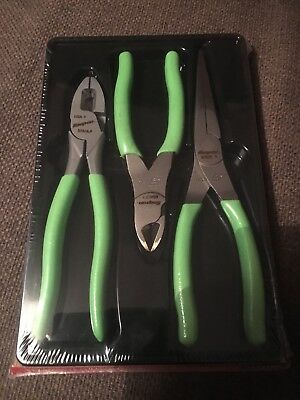 Snap On Tools 3  Piece Pliers Set In Green Comes In Sealed Box Plr300G