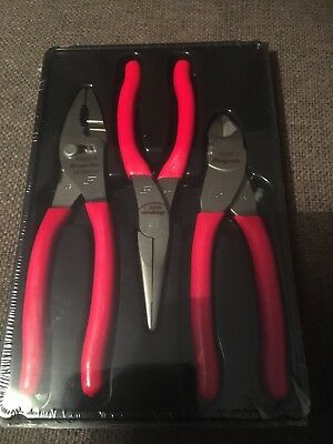 Snap On Tools 3  Piece Pliers Set In Red Comes In Sealed Box Pl300Cf