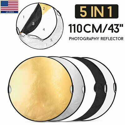 "110CM 43"" 5in1 photo reflector Handle Grip Studio Photography Light Collapsible"