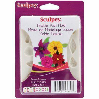 SCULPEY - Flexible Push Mold - FLOWERS & LEAVES - SILICONE MOULD