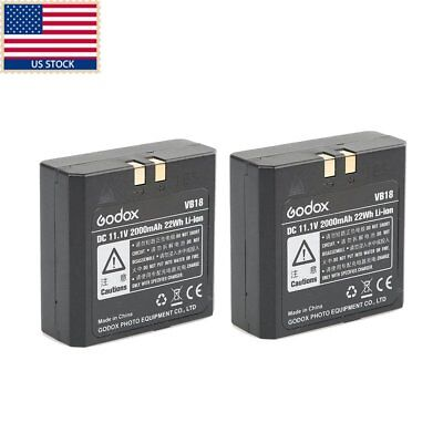 US 2pcs Godox VB18 Li-ion Battery for V860II V850II V850 V860  Speedlite Flash