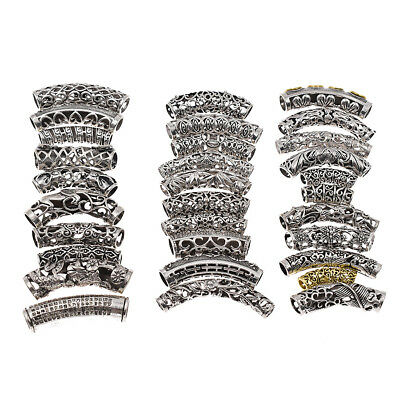 Women Dreadlock Braid Beads Alloy Jewelry Chic Hair Decoration Silver Tubes Gift