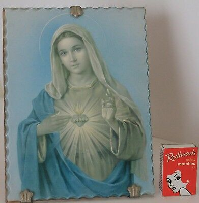 1950s Mary Picture Virgin Mary Madonna Glass Frame Stand Clips Religious Vintage