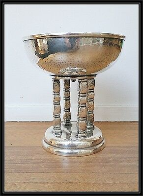 VINTAGE GERMAN  SECESSIONIST HAMMERED SILVER PLATED COMPORT stamped WB