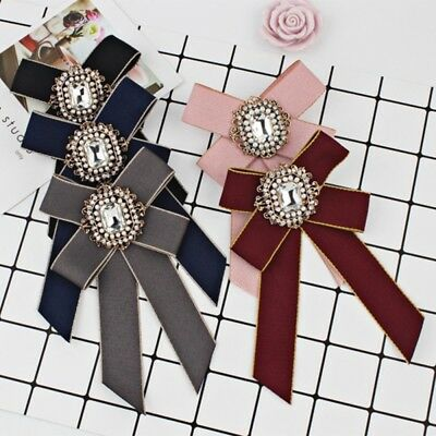 Vintage Mens Women Wedding Clip On Neck Bow Tie Ribbon Rhinestone Necktie Brooch