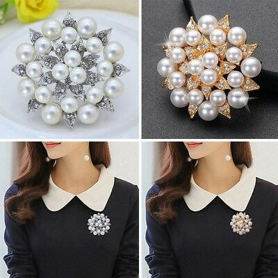 Vintage Silver Flower BROOCH Pin Wedding Crystal Rhinestone Bridal Pearl Broach