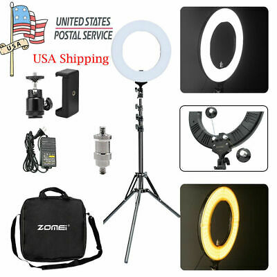 "Zomei 14"" LED Ring Light Photography Dimmable & Stand for Camera Makeup Live"