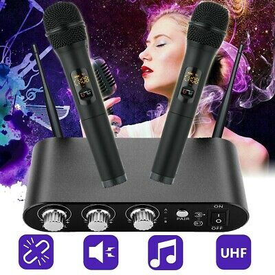 Professional 10 Channel UHF Wireless 2 Microphone Cordless Handheld Mic System