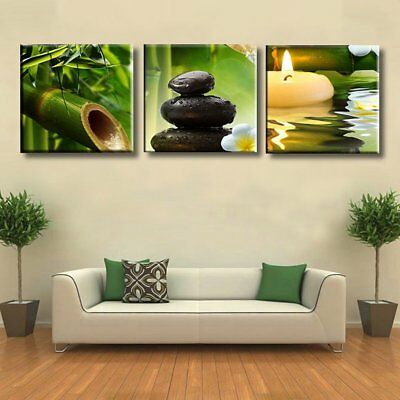 3Pcs Dew Bamboo Green Nature Canvas Print Art Painting Modern Home Wall Decor