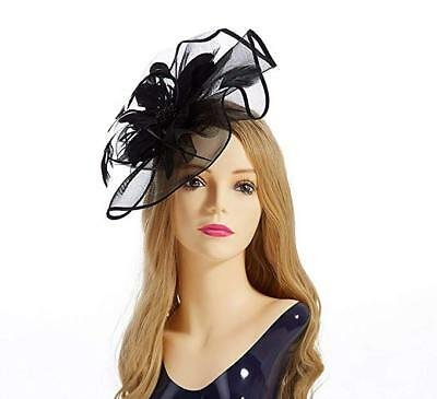 def5031886c Women Fascinator Hat Headband Feather Hairband Gloves for Tea Party Headwear