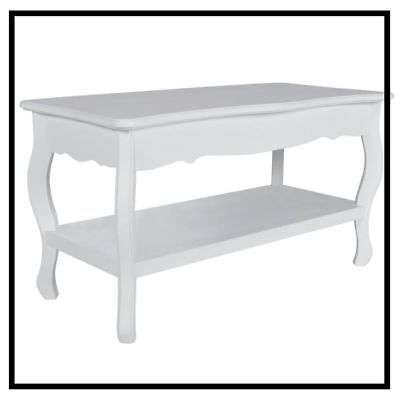 White Coffee Table Wooden Living Room Vintage Furniture Side End Tiers Pine Wood