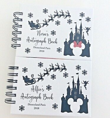 Personalised CHRISTMAS Disney Autograph Book MINNIE or MICKEY A6 PINK*BLUE*WHITE