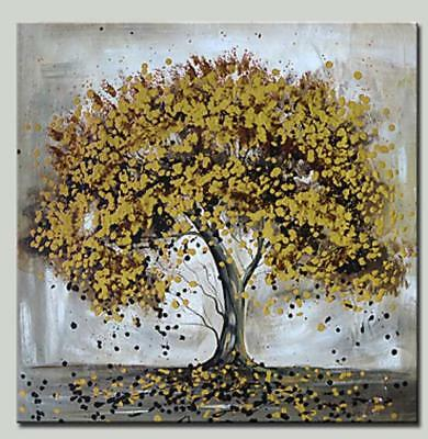 Hand Painted Abstract Oil Painting on Canvas Wall Art Golden Tree 975