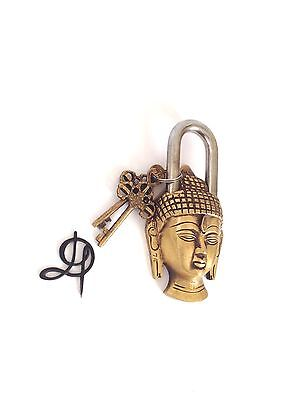 Vintage Antique Style Hand Made Solid Brass Budha Shaped Padlock