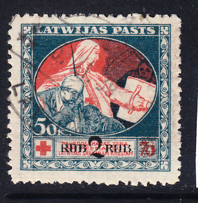 Latvia 1920 Red Cross 50kp Surcharged