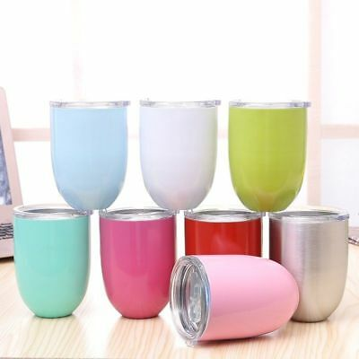 1PC10oz Egg Cocktail Tumbler Wine Cup Stainless Steel Metal Goblet Mug With LidP