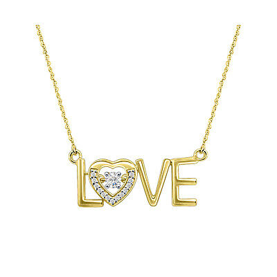 14k Yellow Gold Over 925 Silver LOVE Sign Round Dancing Diamond Pendant Necklace