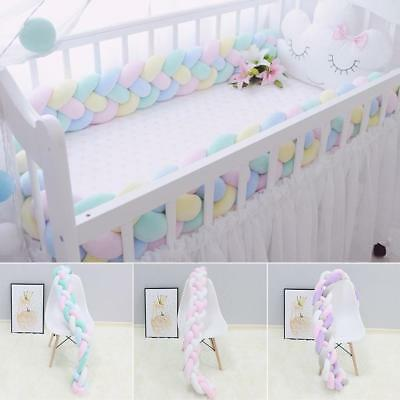 UK Baby Infant Plush Crib Bumper Soft Bed Bedding Cot Braid Pillow Pad Protector