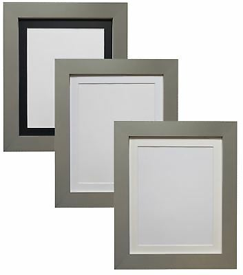 Metro Dark Grey Picture Photo Frame with Black White or Ivory Mount 20x16 A3 A4