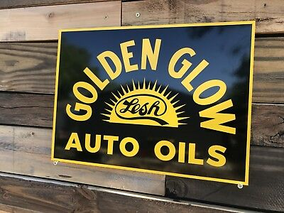 Antique Vintage Old Style Golden Glow Gas Oil Service Station Sign