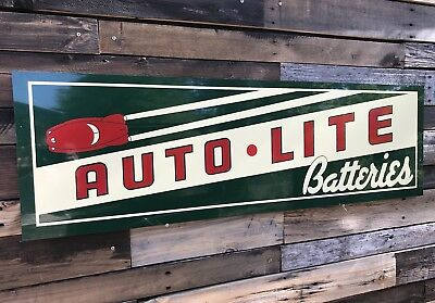 Antique Vintage Old Style Auto Lite Batteries Service Station Gas Oil Sign!