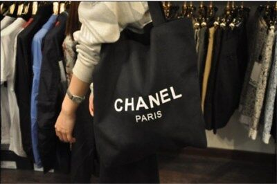 3432bb2ffb79bd Authentic Chanel Limited Paris CC beauty VIP Gift Black Thick Canvas Tote  Bag