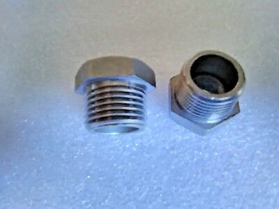 """2Pcs 1/2"""" Male x 1/4"""" Female Stainless Steel Thread Reducer Bushing Pipe Fitting"""