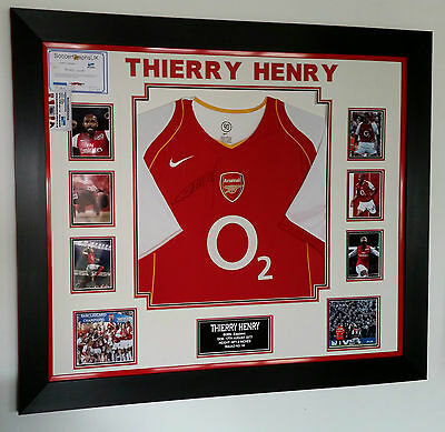 *** Rare Thierry Henry of Arsenal Signed Shirt Luxury Legend Display ***