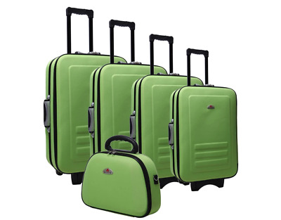 New 5pc Suitcase Trolley Luxury Travel Trolley Carry Bag Luggage Set Lime