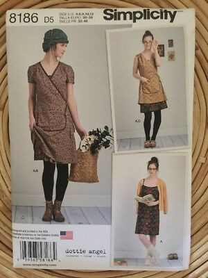 Simplicity 8186 Sewing Pattern Ladies Slip Wrap Dress Sizes 4-12 Dottie Angel