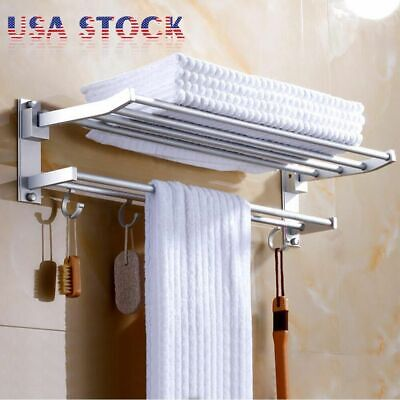 Modern Double Wall Mounted Bathroom Bath Towel Rail Holder Storage Rack Shelf MK