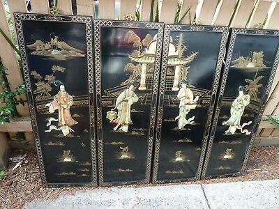 Chinese Asian Mother Of Pearl Wall Pictures Decorations Hangings Panels 4