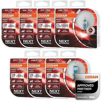 OSRAM Night Breaker Laser (Next Generation) Car Bulbs H1 H4 H7 H8 H11 HB3 HB4