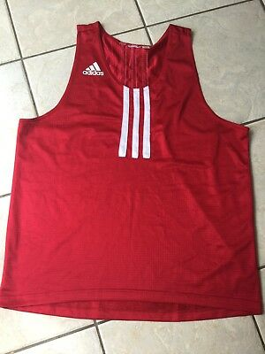 """Adidas Sports Vest 44"""" Chest, Kick Boxing etc RED"""