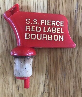 VINTAGE S.S. PIERCE RED LABEL BOURBON Kentucky Bottle Stopper Bottle Pourer VGUC