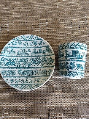 VINTAGE  DENMARK NYMOLLE HOYRUP ART FAIENCE PLATE & MATCHING CUP # 4-5a