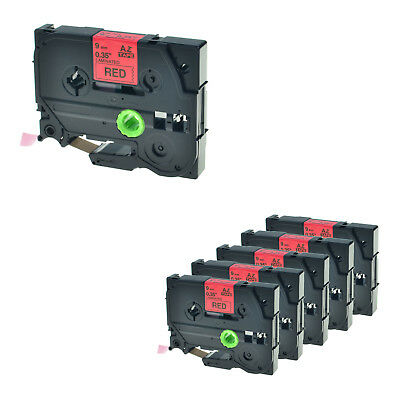 """6PK TZ 421 TZe 421 TZ421 Black on Red Label Tape For Brother PTouch PT-2470 3/8"""""""
