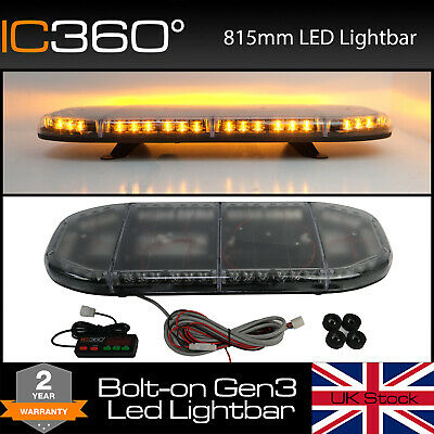 Odyssey 815mm (900mm) Slimline Amber SMD LED Recovery Lightbar Bolt Mount 12/24v