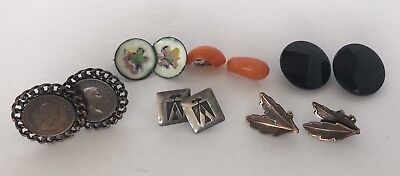 Lot Of Six Pair Of Vintage Retro Clip On Earrings Women's Costume Jewelry