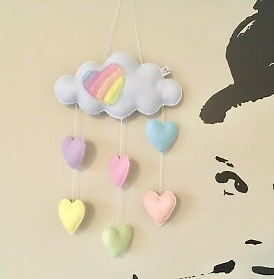 Rainbow heart cloud nursery mobile rain baby shower decor gift cot hanging mobil