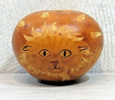 Hand-Carved Lion Face Gourd Rattle