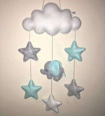 Personalized baby elephant cloud star hanging nursery mobile wall decoration