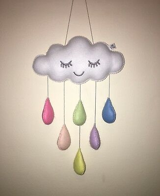 pastel rainbow cloud baby mobile hanging nursery decor baby shower gift cot