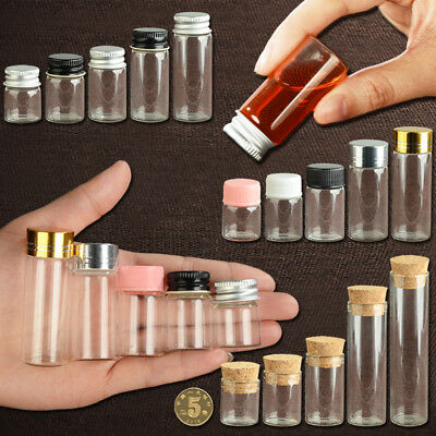 5~22ml Glass Vial Jars Transparent Bung Test Tube Bottle Crafts With Lid