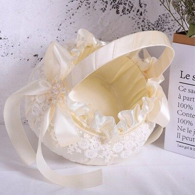 1pcs Wedding Bridal Basket Embroidery Classic Portable Flower Basket for Wedding
